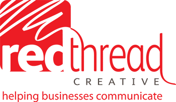 Creative marketing communication red thread logo LANDSCAPE with strapline 350