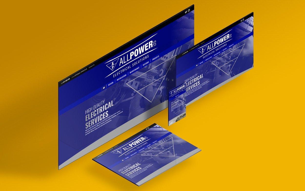 UK web designers portfolio website for All Power